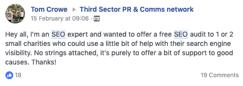 Post to Third Sector PR & Comms Network Group