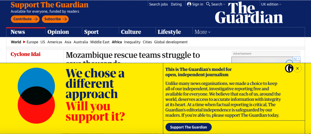 The Guardian website is optimised for conversions