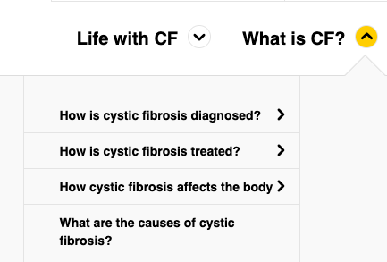 Cystic Fibrosis trust menu of core pages