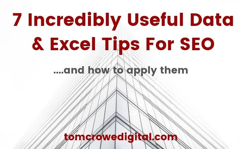 Data & Excel tips for SEO