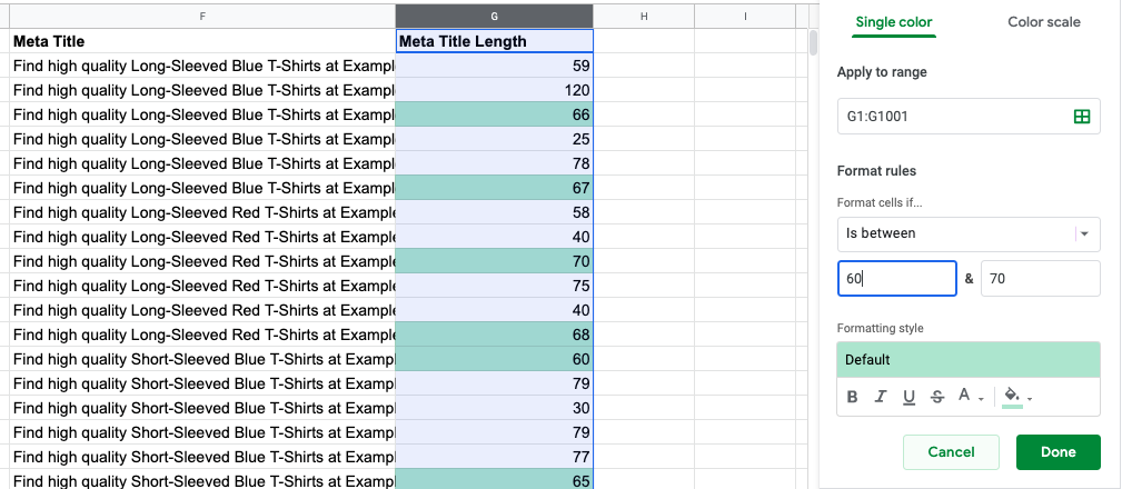 Example of how conditional formatting is used