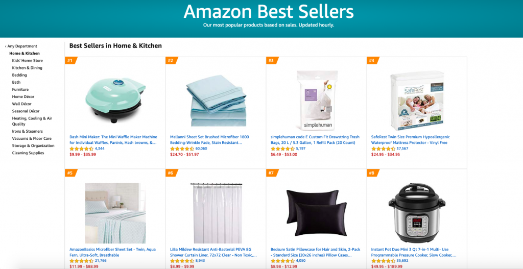 Amazon ecommerce store layout